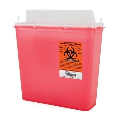 CASE OF 20!! Sharps Containers 5 Quart 2-Piece Red Base Horizontal Entry Lid