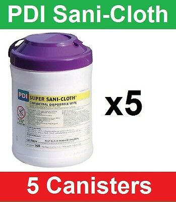 """Super Sani-Cloth Hard Surface Disinfectant Wipes, Pull-Up, 6""""x7"""", 5 Cnstr Q55172"""