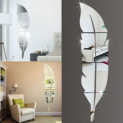 3D Feather Mirror Wall Stickers Removable Decal Art Home Decor DIY Wallpaper