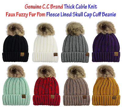 C.C Thick Cable Knit Faux Fuzzy Fur Pom Fleece Lined Skull Cap Cuff CC Beanie