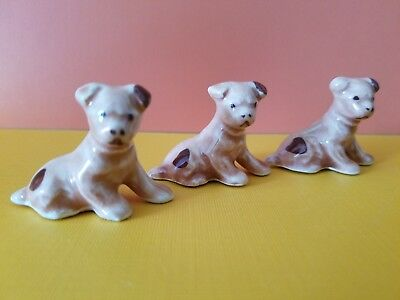 3 Vtg Puppy Dog Ceramic Figurine Retro Old decor Terrier