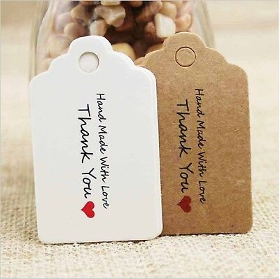 Craft Tags White Brown Rectangle Thank You With Love Gift Food Jewellery Wedding