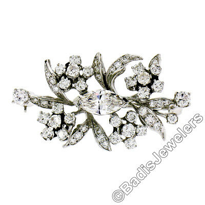Vintage 14k White Gold 2.60ctw Large Marquise & Round Diamond Floral Pin Brooch