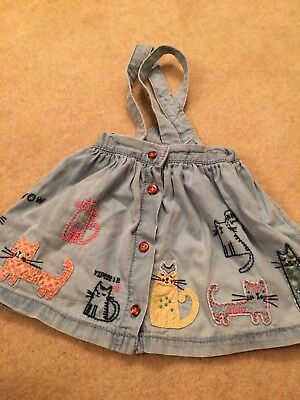 Baby Girls Denim Skirt Pinafore With Braces Embroidered Cats Next 12-18 Months
