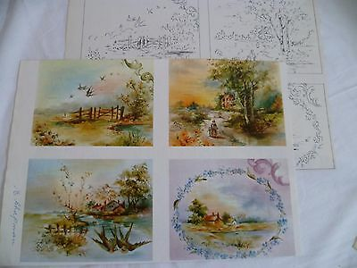 1970 Vintage China Painting #33 Scenes Helen Humes Swallows Cottages Country