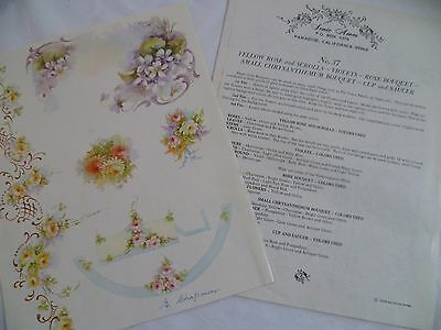 1970 Vintage China Painting #37 Bouquets Scrolls Sonie Ames Rose Violet Chrysies