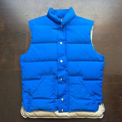 Vintage Top Gear 80s Blue Goose Down Ski Vest Mens Medium Fits Small USA