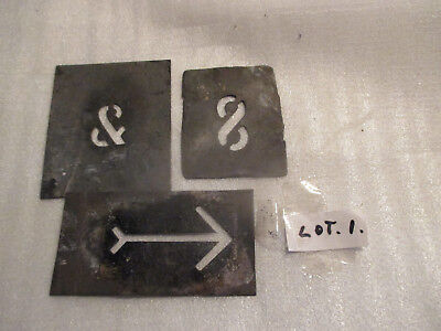 "No--1--  TIN    STENCILS  EXTRA  BITS  --1 1/4 ""  --1 ""  --2  1/8  ""  LONG ARROW"