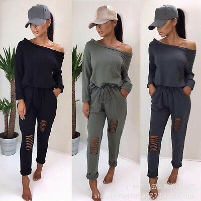 Womens Off Shoulder Ripped Jumpsuit Ladies Evening Party Playsuit UK Size 6-16