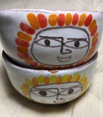 DESIMONE Italy; Pair of Small Vintage cups/bowls Sun design 64/3 signed