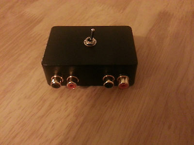 ASPHO1 Audio switcher with RCA phono connectors, switch between 2 stereo devices