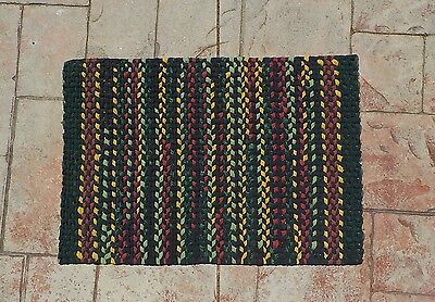 Twined Rug Kitchen Bedroom Black Red yellow Green Woven Cotton Mat Handmade