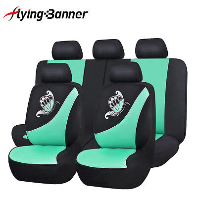 NEW-Car-Seat-Covers-set-low-back-Universal-Flying-banner-Breathable-mint-blue