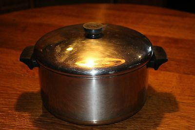 Vintage Revere Ware Pan 6 Quart Large Stainless Steel Copper Bottom Stew Soup