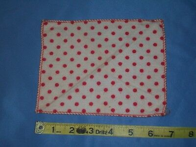 "Vintage Flannel Red Dotted Baby Doll Blanket~for 8"" Ginnette Doll"