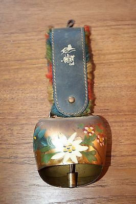 Vintage Cow Bell Brass Leather Strap Hand Painted Floral Nice Sound Decorative