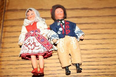 Vintage Ari German Dolls Boy and Girl in Original Clothes Miniature Doll House