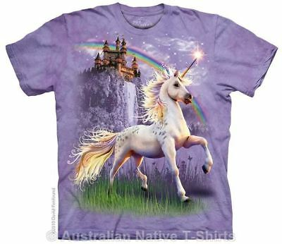Unicorn Castle T-Shirt in Adult Sizes - Fantasy Art by The Mountain T-Shirts