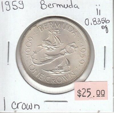 Bermuda 1 Crown 1959 Silver Circulated - ii