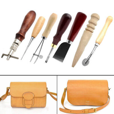 7 in1 Set Leather Craft Punch Tools Stitching Carving Work Sewing Saddle Groover