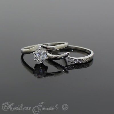 Solid 925 Sterling Silver Simulated Diamond Engagement & Wedding Band Set Ring