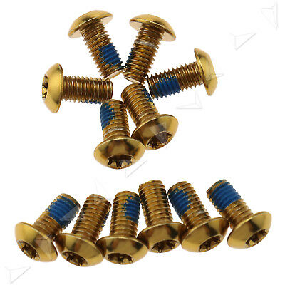 12 Pack Disc Brake Rotor Screw Bolts M5 x 10mm Fit for Bicycle MTB Bike Gold