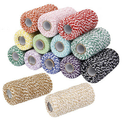 100M 2Ply Baker Twine Cotton Cord Christmas Holiday Wedding Gift Ribbon String