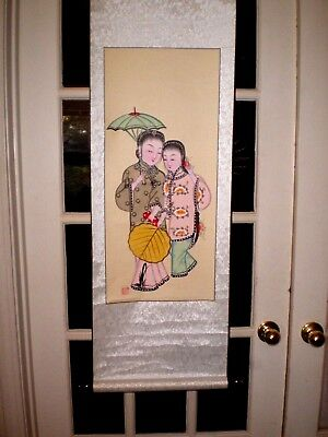 Beautiful Old Chinese Scroll w/2 Hand Painted Women Green Umbrella & Yellow Fan