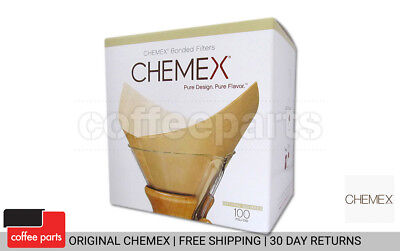 NEW Chemex Bonded Filters Pre-folded Natural Squares to fit 6-10 Cup (100 Pack)