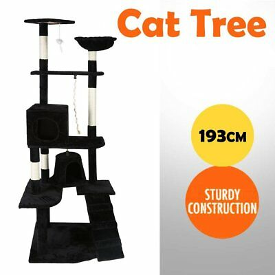 Large 193cm Tall Cat Tower Tree Scratching Post Ladder Condo Mouse Furniture AUS