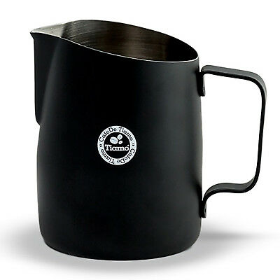 NEW Tiamo 450ml Tapered Black Milk Frothing Pitcher Jug perfect for latte art