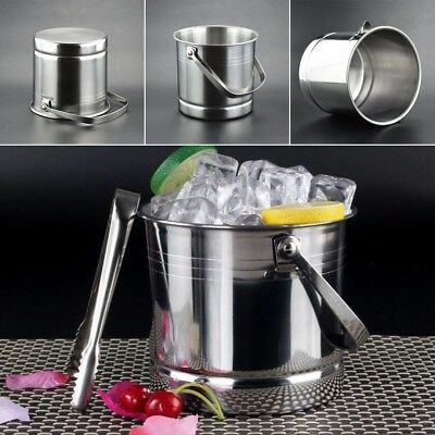 New 1L Stainless Steel Portable Beer Ice Bucket Cooler Barrel With Lid & Tweezer