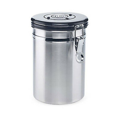 NEW Friis Silver Coffee Vault - Stainless Steel Storage Canister w/ one-way valv
