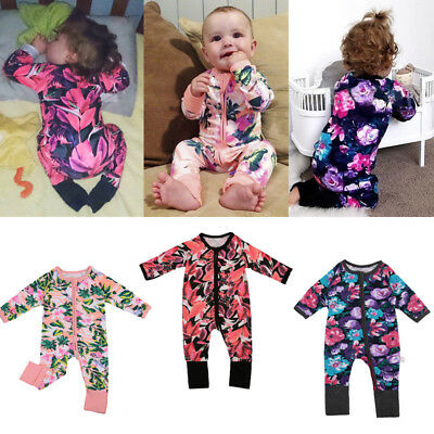 AU Stock Newborn Baby Girl Kids Floral Bodysuit Romper Jumpsuit Clothes Outfits