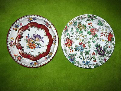 """Vintage Lot of 2 Daher Decorated Ware Metal Tin Bowls 10"""" Made in England 1971"""