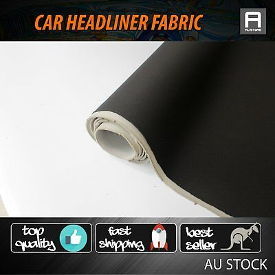 1.2M Length Foam Backed Headliner Fabric Universal Car Roof 1.51M Width Black OZ