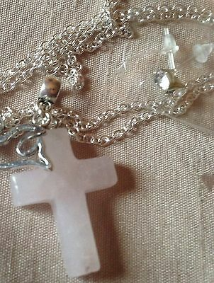 "Rosequartz Gemstone Cross +ster Sil 20""Chain+ Free StudEarings/boxed."