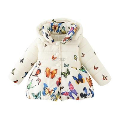 Infant Baby Girls Winter Butterfly Coat Kids Soft Cotton Jacket Outerwear 0-24M