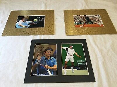 "Roger Federer hand signed 6"" x 4"" photo card matted to 8""x10"" + 2 unsigned pics"