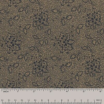 Quilt Fabric Quilting Cotton Calico Dark Blue Floral Vines: FQ or Cut-to-Order