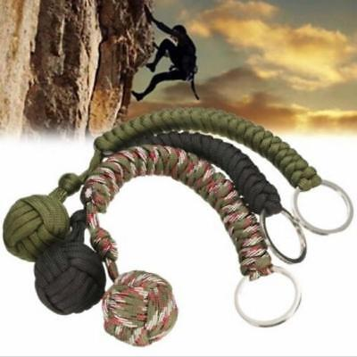Monkey Fist Chain Keyring Steel Ball for Lanyard Survival Self Defence Outdoor L