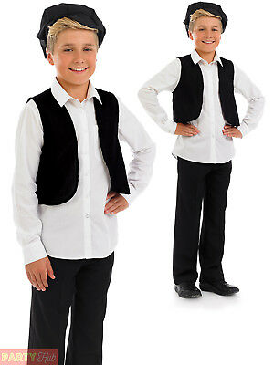 Boys Victorian Costume Childs Peasant Urchin Fancy Dress Kids Book Week Outfit