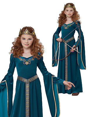 Girls Medieval Princess Costume Childs Maiden Fancy Dress History Book Week Day