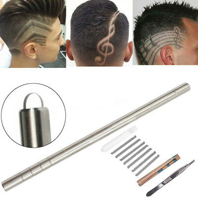 1 Set Magic Silver Hair Styling Eyebrow Beards Engraved Pen Razor Salon Barber's
