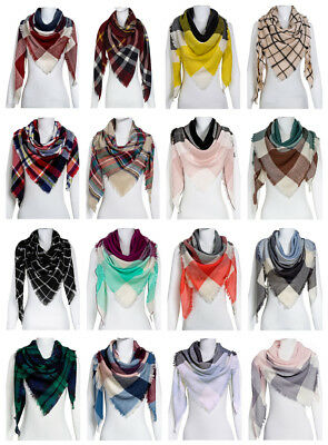 Women Oversized Plaid Triangle Blanket Scarf Checked Wrap Shawl Winter Warm