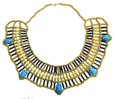Pharaoh Choker Multi Beaded Cleopatra  Scarab Necklace Collar Christmas   234