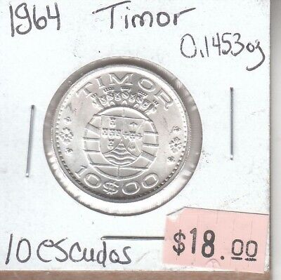 Timor 10 Escudos 1964 Silver Circulated
