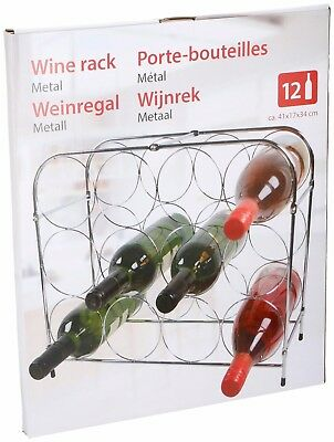Chrome Silver Metal 3 Tier Wine Rack Bottle Holder Display Holds 12 Bottles