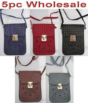 5pc Wholesale Women Girl PU Leather Small Shoulder Messenger Crossbody Bag Mixed