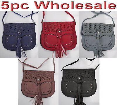 5pc Wholesale Women Girl PU Leather Long Shoulder Messenger Crossbody Bag Mixed